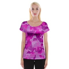 Camouflage Hot Pink Women s Cap Sleeve Top