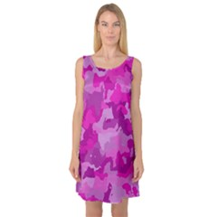 Camouflage Hot Pink Sleeveless Satin Nightdresses