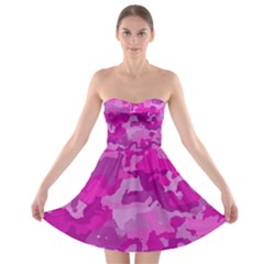 Camouflage Hot Pink Strapless Bra Top Dress