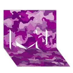 Camouflage Purple I Love You 3d Greeting Card (7x5)