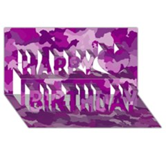 Camouflage Purple Happy Birthday 3D Greeting Card (8x4)
