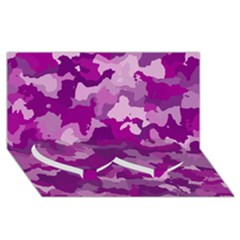 Camouflage Purple Twin Heart Bottom 3d Greeting Card (8x4)