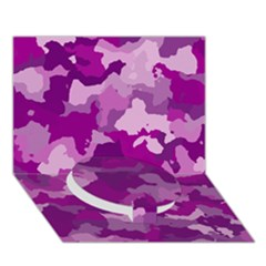 Camouflage Purple Circle Bottom 3d Greeting Card (7x5)
