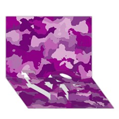 Camouflage Purple LOVE Bottom 3D Greeting Card (7x5)
