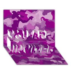 Camouflage Purple YOU ARE INVITED 3D Greeting Card (7x5)