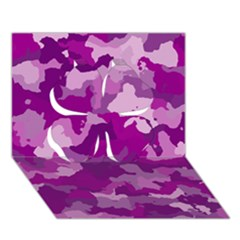 Camouflage Purple Clover 3d Greeting Card (7x5)