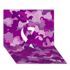 Camouflage Purple Ribbon 3d Greeting Card (7x5)