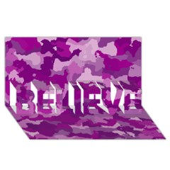 Camouflage Purple Believe 3d Greeting Card (8x4)