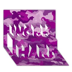 Camouflage Purple WORK HARD 3D Greeting Card (7x5)