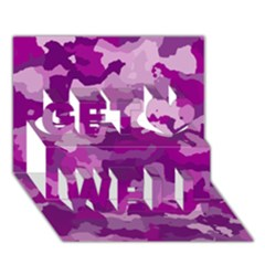 Camouflage Purple Get Well 3D Greeting Card (7x5)