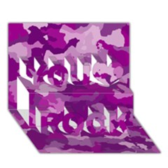 Camouflage Purple You Rock 3d Greeting Card (7x5)