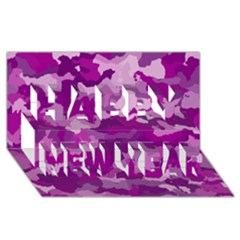 Camouflage Purple Happy New Year 3d Greeting Card (8x4)