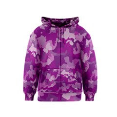 Camouflage Purple Kids Zipper Hoodies