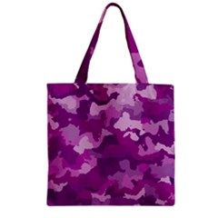 Camouflage Purple Zipper Grocery Tote Bags