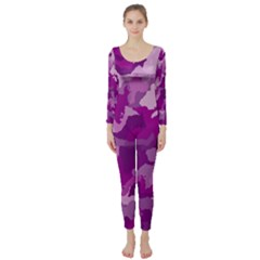 Camouflage Purple Long Sleeve Catsuit