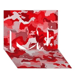 Camouflage Red I Love You 3D Greeting Card (7x5)