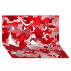 Camouflage Red Twin Hearts 3D Greeting Card (8x4)
