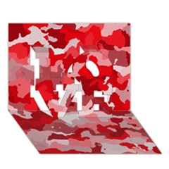 Camouflage Red LOVE 3D Greeting Card (7x5)