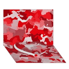 Camouflage Red Heart Bottom 3D Greeting Card (7x5)
