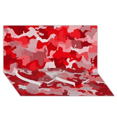 Camouflage Red Twin Heart Bottom 3D Greeting Card (8x4)
