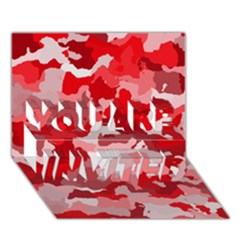 Camouflage Red You Are Invited 3d Greeting Card (7x5)