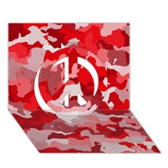 Camouflage Red Peace Sign 3d Greeting Card (7x5)