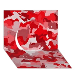 Camouflage Red Circle 3d Greeting Card (7x5)