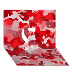 Camouflage Red Ribbon 3D Greeting Card (7x5)