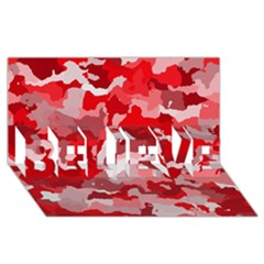 Camouflage Red BELIEVE 3D Greeting Card (8x4)