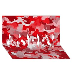 Camouflage Red SORRY 3D Greeting Card (8x4)