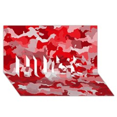 Camouflage Red Hugs 3d Greeting Card (8x4)