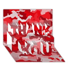 Camouflage Red Thank You 3d Greeting Card (7x5)
