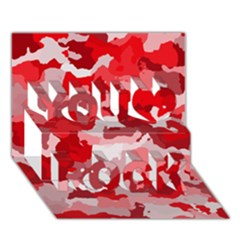 Camouflage Red You Rock 3d Greeting Card (7x5)