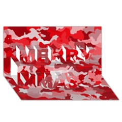 Camouflage Red Merry Xmas 3d Greeting Card (8x4)