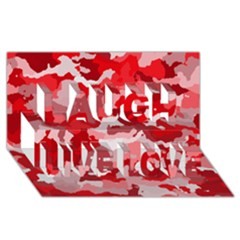 Camouflage Red Laugh Live Love 3D Greeting Card (8x4)