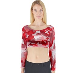 Camouflage Red Long Sleeve Crop Top