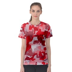 Camouflage Red Women s Sport Mesh Tees