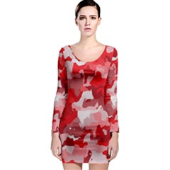 Camouflage Red Long Sleeve Bodycon Dresses