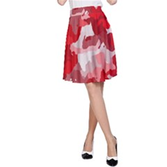 Camouflage Red A Line Skirts