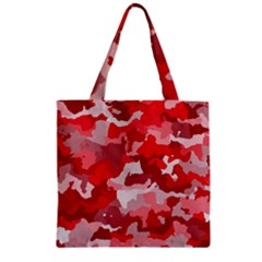 Camouflage Red Zipper Grocery Tote Bags