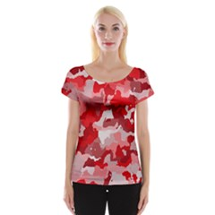 Camouflage Red Women s Cap Sleeve Top