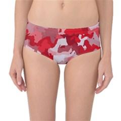 Camouflage Red Mid Waist Bikini Bottoms
