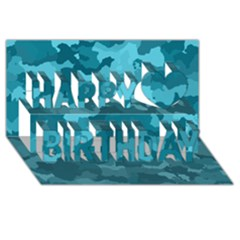 Camouflage Teal Happy Birthday 3d Greeting Card (8x4)