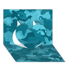 Camouflage Teal Heart 3d Greeting Card (7x5)