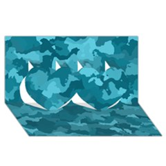 Camouflage Teal Twin Hearts 3D Greeting Card (8x4)