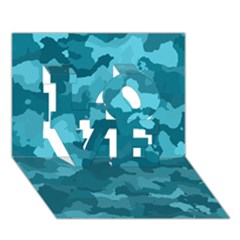 Camouflage Teal Love 3d Greeting Card (7x5)