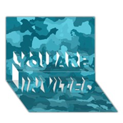 Camouflage Teal YOU ARE INVITED 3D Greeting Card (7x5)