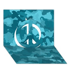 Camouflage Teal Peace Sign 3D Greeting Card (7x5)