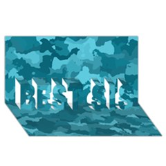 Camouflage Teal Best Sis 3d Greeting Card (8x4)