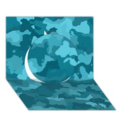 Camouflage Teal Circle 3D Greeting Card (7x5)